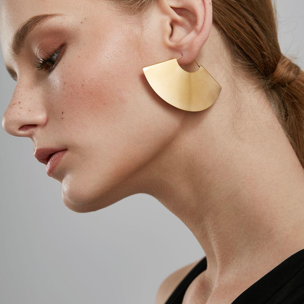 Enfashion Vintage Camber Fan Dangle Earrings Matte Gold color Earings Big Drop Earrings For Women Long Earring Jewelry brinco