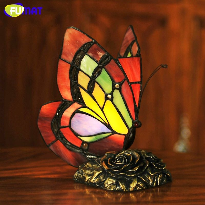 FUMAT Butterfly Table Lamp Art Decor Stained Glass Lights For Living Room Butterfly Tiffany Bedroom Hotel Bedside Table Lamps