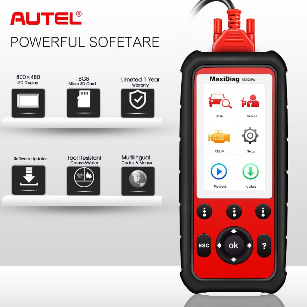 Autel MD808 pro All System OBDII Diagnostic Tool OBD2 Scanner Combination of MaxiCheck Pro and MD802 for Engine,Transmission