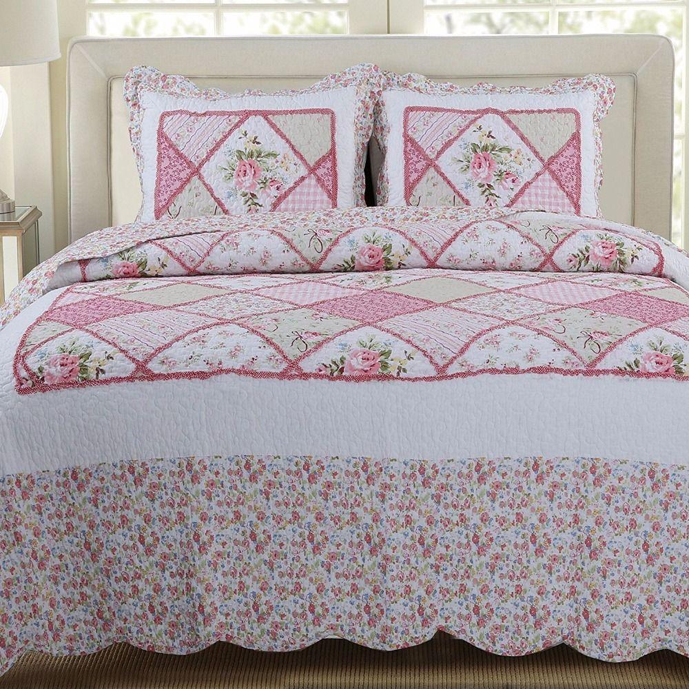 FADFAY 100% Cotton Patchwork Bedspread Romantic Floral Bed Bedding Set Cotton Patchwork Quilt Cover Set Queen Size 3Pc Bed Sets