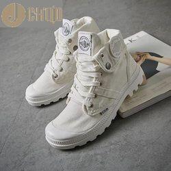 Jchqd 2018 Fashion Tinggi Top Sneakers Kanvas Sepatu Wanita Kasual Sepatu Datar Wanita Keranjang Renda Solid Pelatih Chaussure