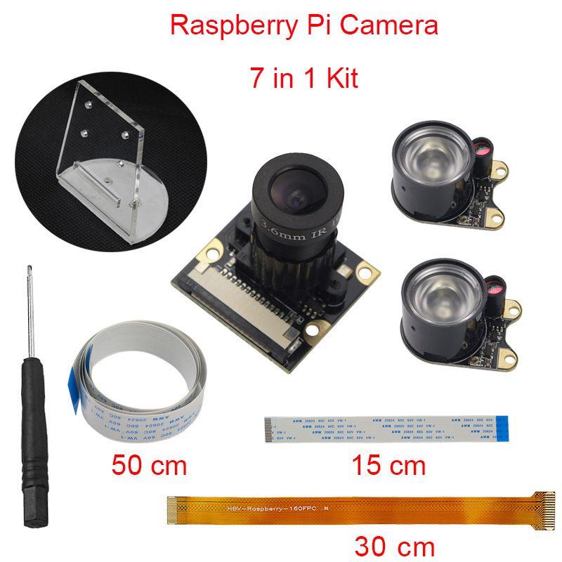 Raspberry Pi 3 Model B+ B Plus Camera Focal Adjustable Night Vision Camera +IR Light + Holder +FFC for Raspberry Pi <font><b>Zero</b></font> W/1.3