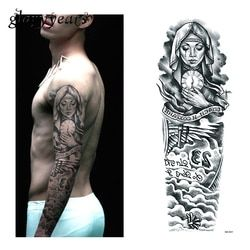1 Piece Temporary Tattoo Sticker Nun Girl Pray Design Full Flower Arm Body Art Beckham Big Large Fake Tattoo Sticker New QB-3031