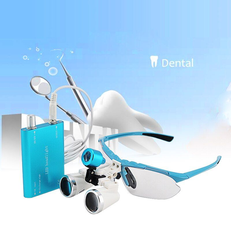 Silver magnifying glass 3.5X320mm Medical Surgical loupes Dental Loupes head loupes with LED light magnifier