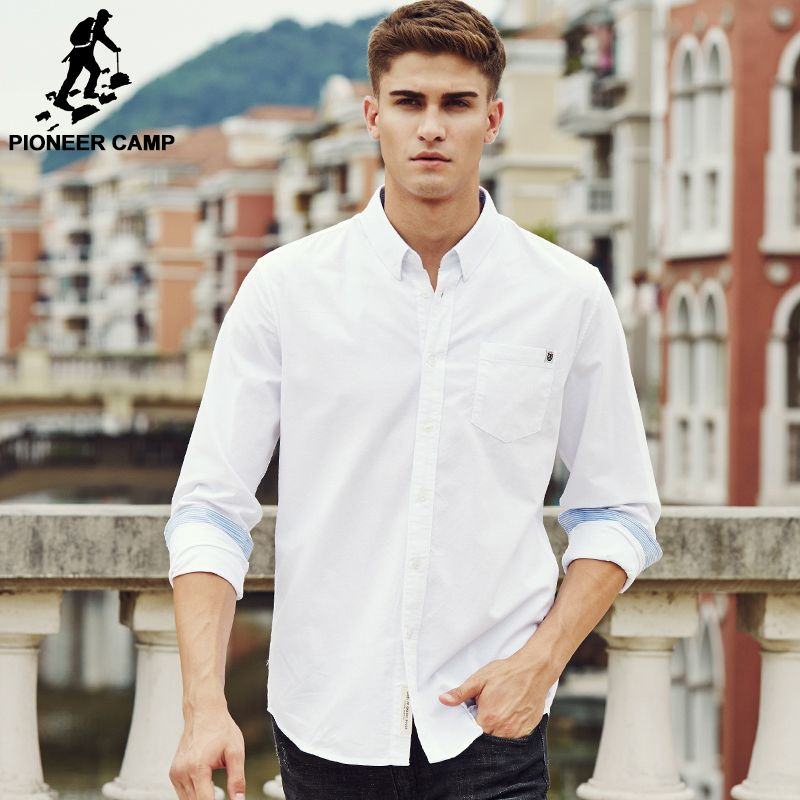 Pioneer Camp chemise décontractée hommes marque vêtements 2018 nouveau manches longues cintrée en pur coton unie chemise masculine qualité 100% coton blanc 666211