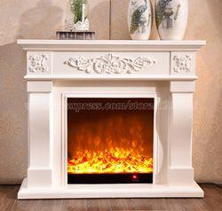 Декор гостиной и согревающий камин W120cm деревянный Мантел плюс Электрокамин вставной блок Светодиодный оптический искусственный пламя