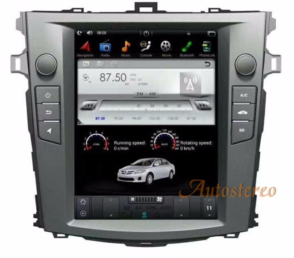 Android6.0 Tesla style 10.4 inch Car No DVD Player GPS Navigation For Toyota Corolla 2007-2013 stereo unit Satnav multimedia