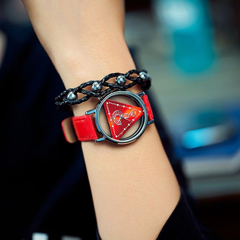 Triángulo esqueleto reloj mujeres moda delicado transparente hueco correa de cuero reloj de cuarzo Relogio feminino
