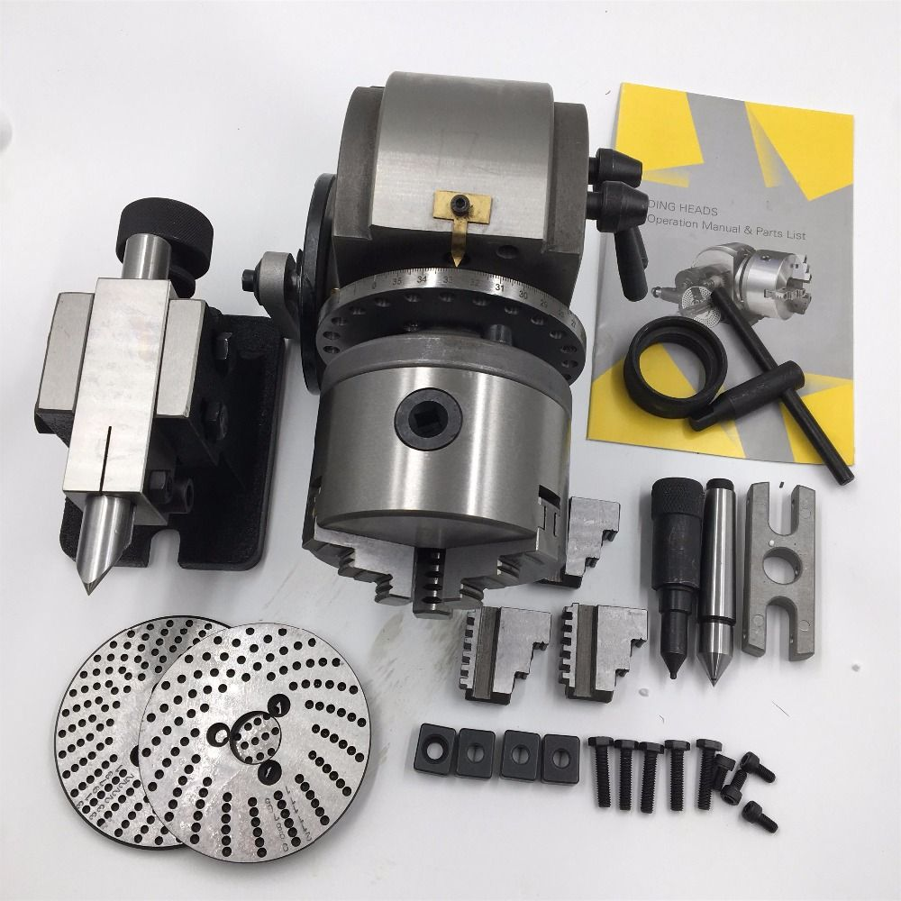 BS-0 Precision Dividing Head Tailstock 100MM 3-Jaw Lathe Chuck & Dividing Plates CNC Milling Universal Dividing Head