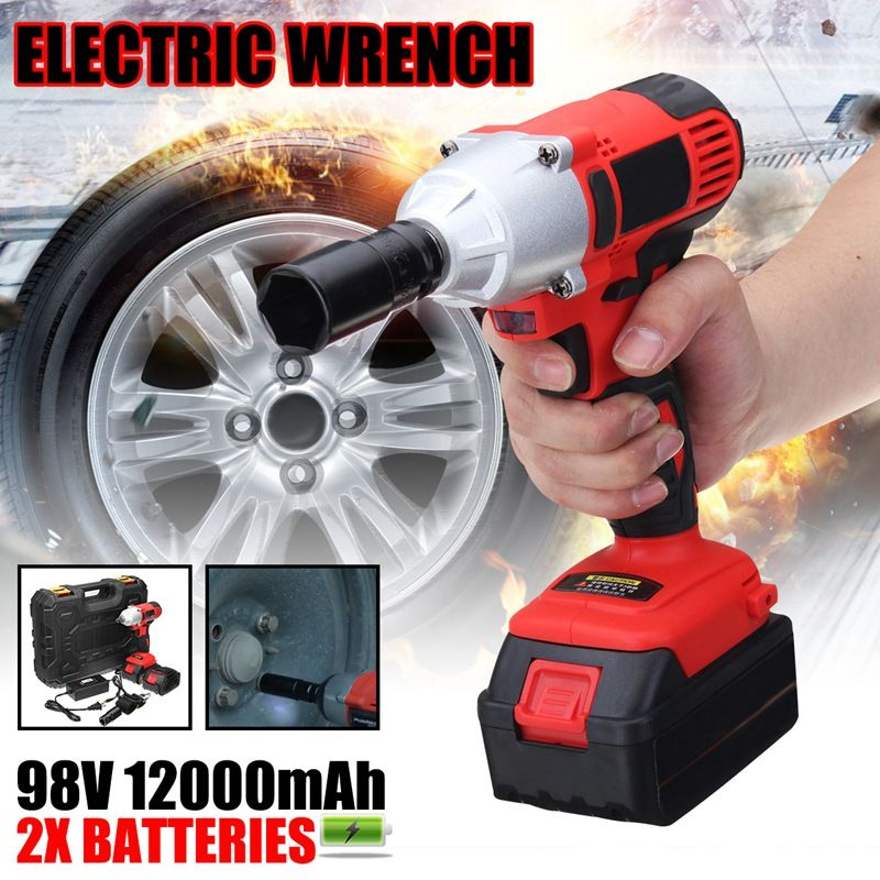 Doersupp 1Pcs 2x 98V 12000mah Battery Brushless Electric Wrench Kit With Box 320 N.M Power Tools Car Changing Tire Tools
