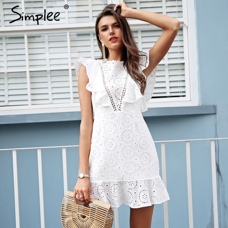 Simplee Embroidery cotton white dress women Ruffle sleeve high waist short dress 2018 Keyhole back casual dress female vestidos