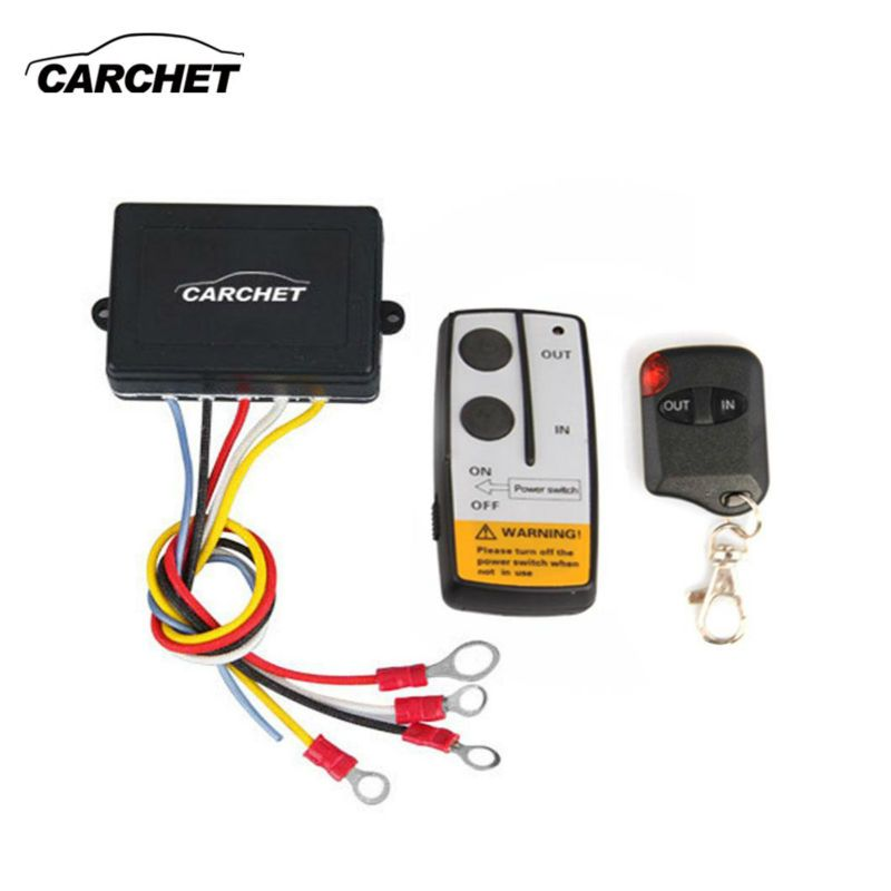 CARCHET 12V 50ft Smart Winch Wireless Remote Control <font><b>Switch</b></font> Set E Universal indicator light For Jeep Truck ATV NEW2017 PROMOTION