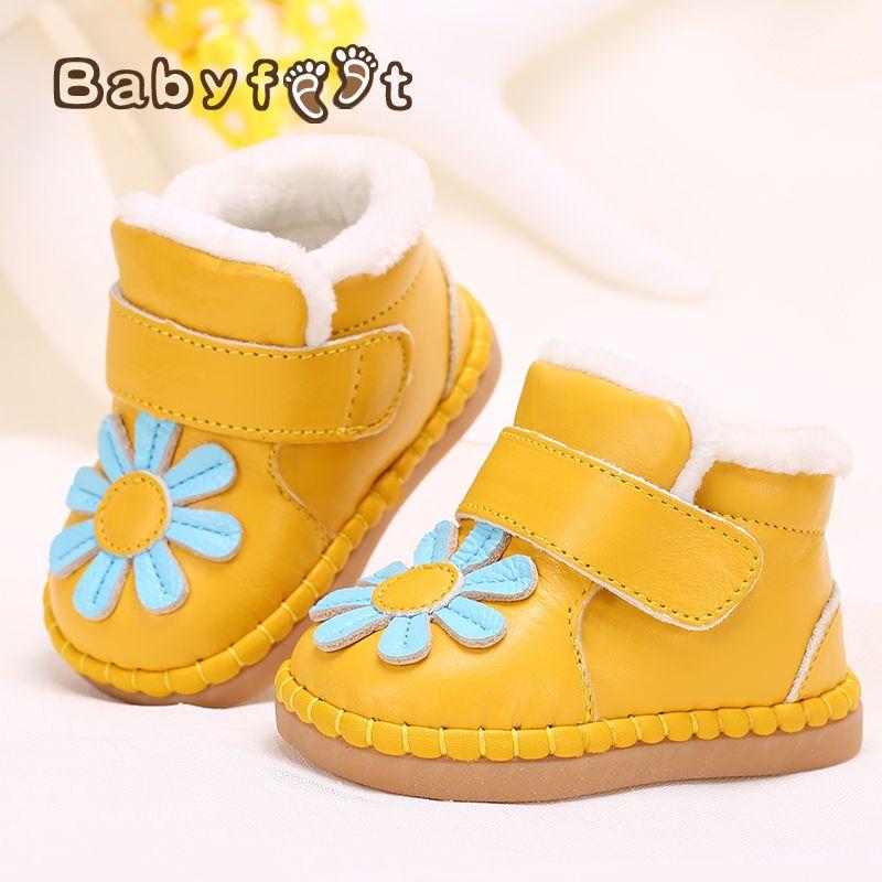 Bébé chaussures nouveau-né d'hiver véritable chaussures en cuir doux enfant en bas âge prewalkers filles en peluche à l'intérieur coton-rembourré nouveau bébé garçons chaussures