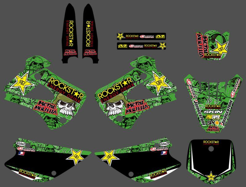 GRAPHICS & BACKGROUND DECAL STICKER Kit for Kawasaki KX85 KX100 2001 02 03 04 05 06 07 08 2009 2010 2011 2012 2013 KX 85 100