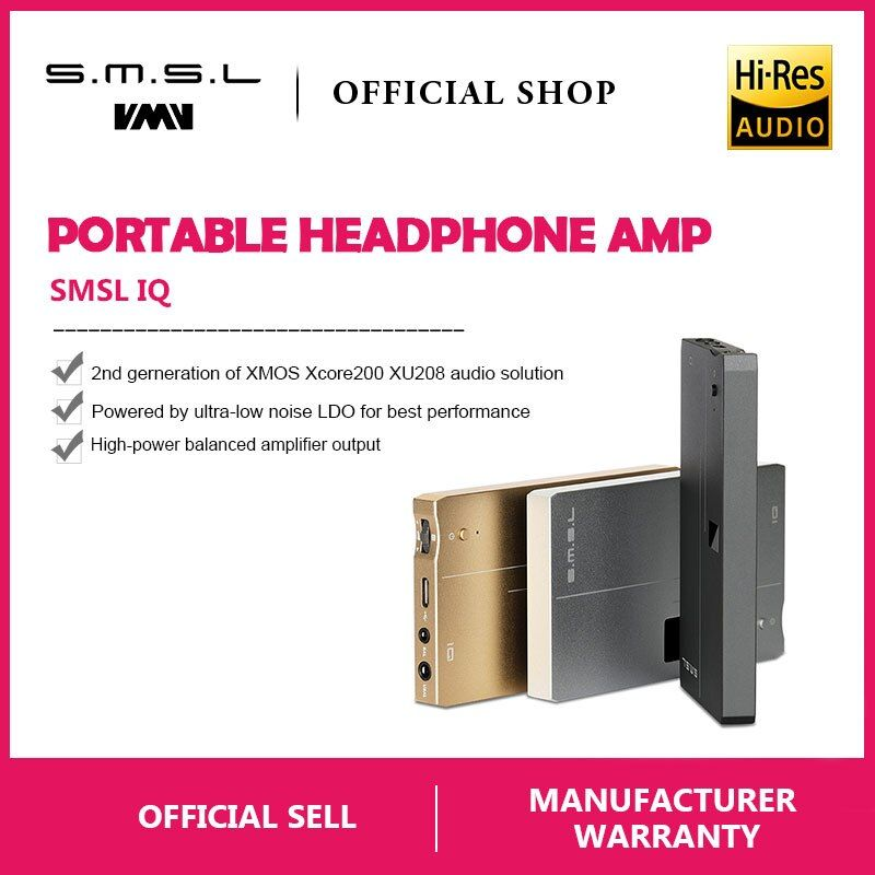 SMSL IQ USB HI-RES Portable headphone Amplifier with DAC DSD512 PCM 768kHZ built in chargeable battery 2.5mm and 3.5mm output