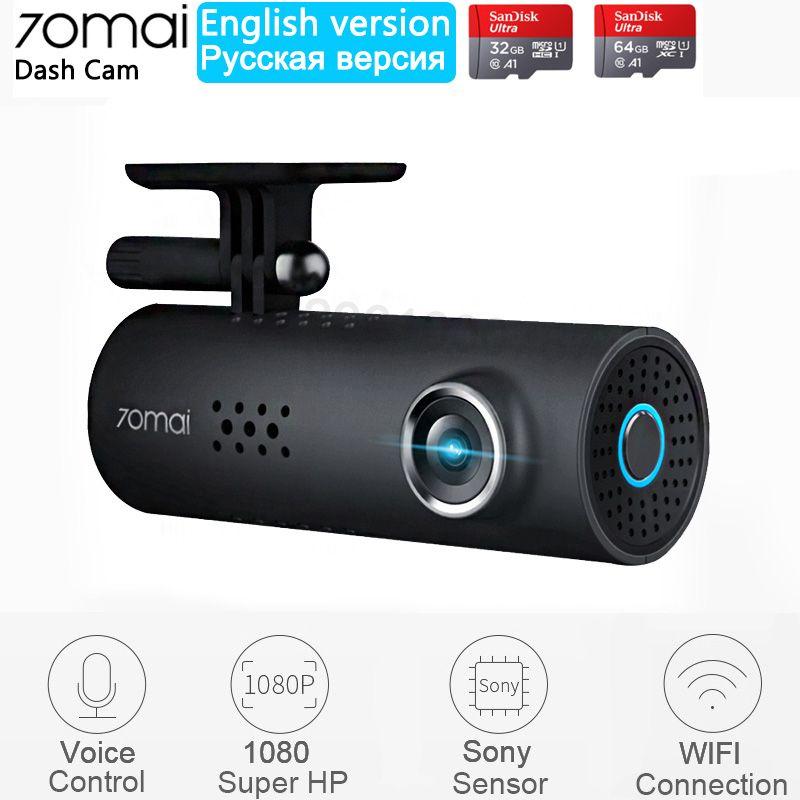 Xiaomi 70mai Dash Cam anglais commande vocale voiture DVR 1080HD Vision nocturne Dashcam 70 mai voiture caméra Auto enregistreur WIFI caméra
