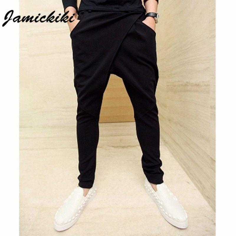 Asian Size M-XXL 2016 Jamickiki Brand Men's Harem Pants Side Pocket Drawstring Solid Black Sweatpants Homme