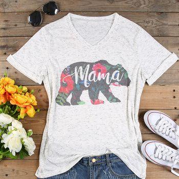 Plus Size T Shirt Women V Neck Short Sleeve Summer Floral mama bear t Shirt Casual Female Tee Ladies Tops Fashion t shirt 3XL