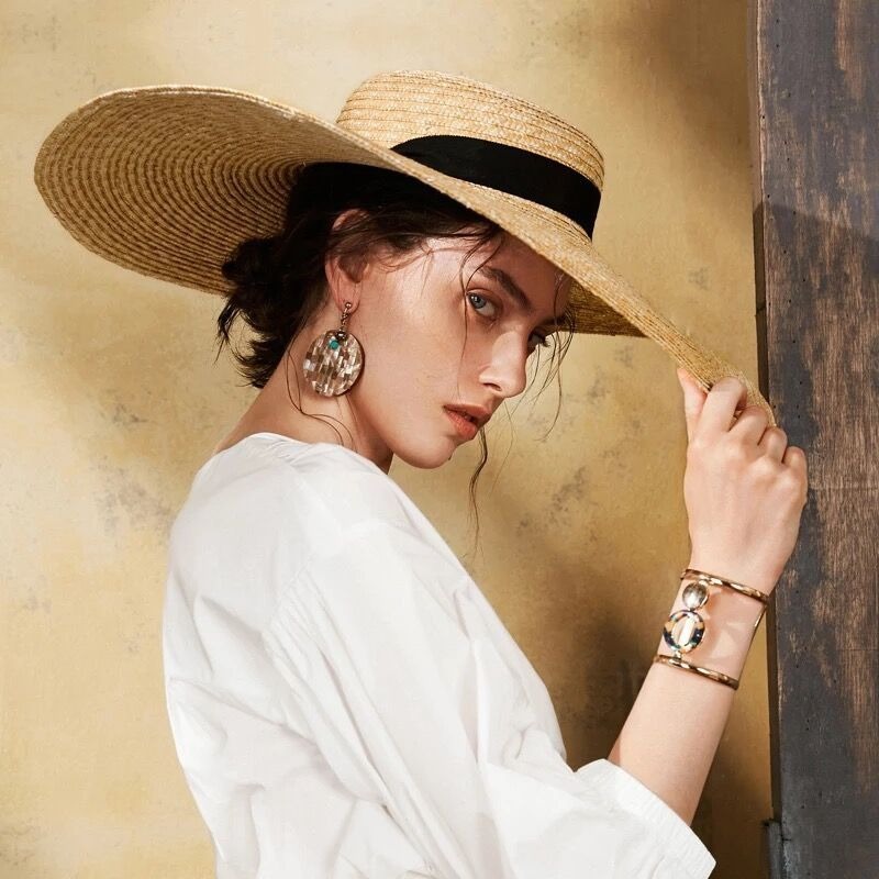 Muchique Sun Hat Summer 2017 Boater Hats for Women Wheat Straw Beach Hat with Wide Brim and Ribbon Tie