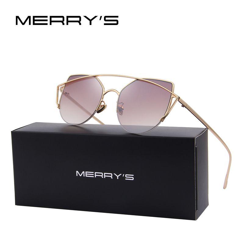 MERRY'S Women Cat Eye Twin-Beams Sunglasses Classic Brand Designer Sunglasses Semi-Rimless Flat Panel Lens S'8056