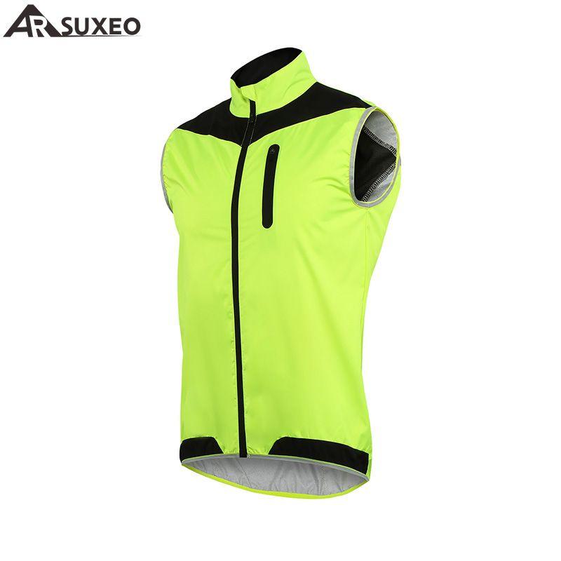 Arsuxeo 2017 Жилеты ветрозащитный Водонепроницаемый MTB велосипеда Велосипедный Спорт жилет дышащий светоотражающие Костюмы Велоспорт куртка 17v2