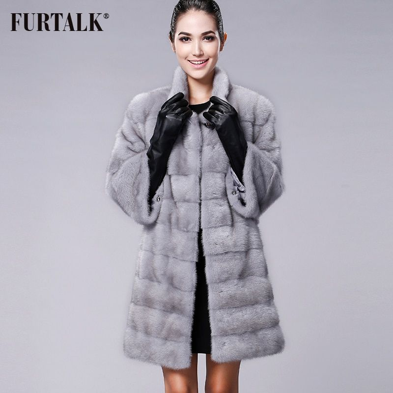 FURTALK High quality Real Natural Mink Fur Coat Women Winter Long Mink Fur Coat Fur Jacket