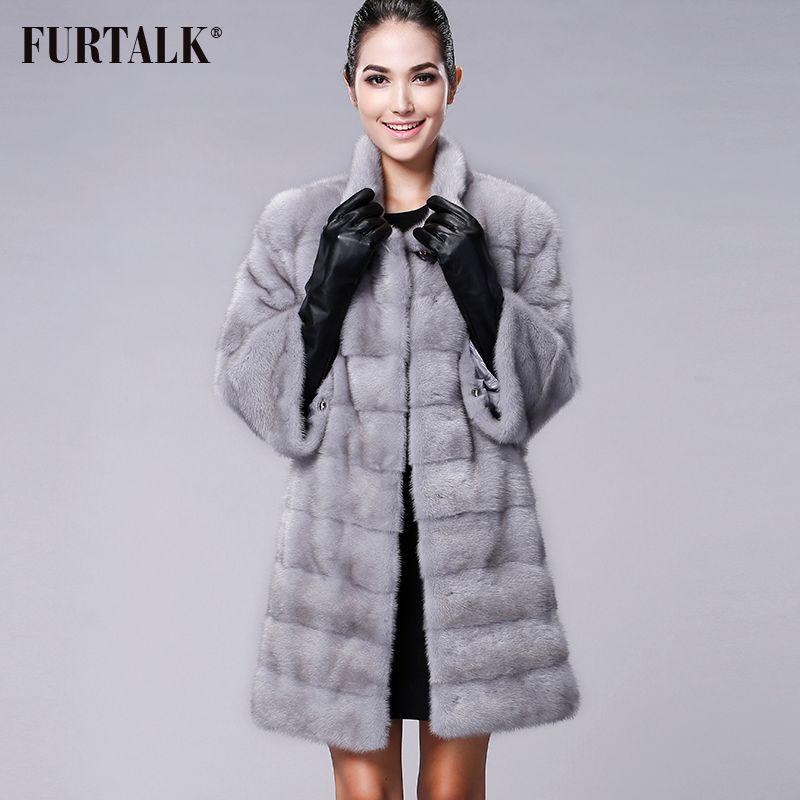 FURTALK Hohe qualität Echte Natürliche Nerz Pelzmantel Frauen Winter Lange Nerz Pelzmantel Pelz Jacke Nach größe