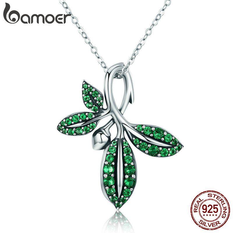 BAMOER Hohe Qualität 925 Sterling Silber Sommer Sammlung Baum Blätter Anhänger Halskette für Frauen Sterling Silber Schmuck SCN226