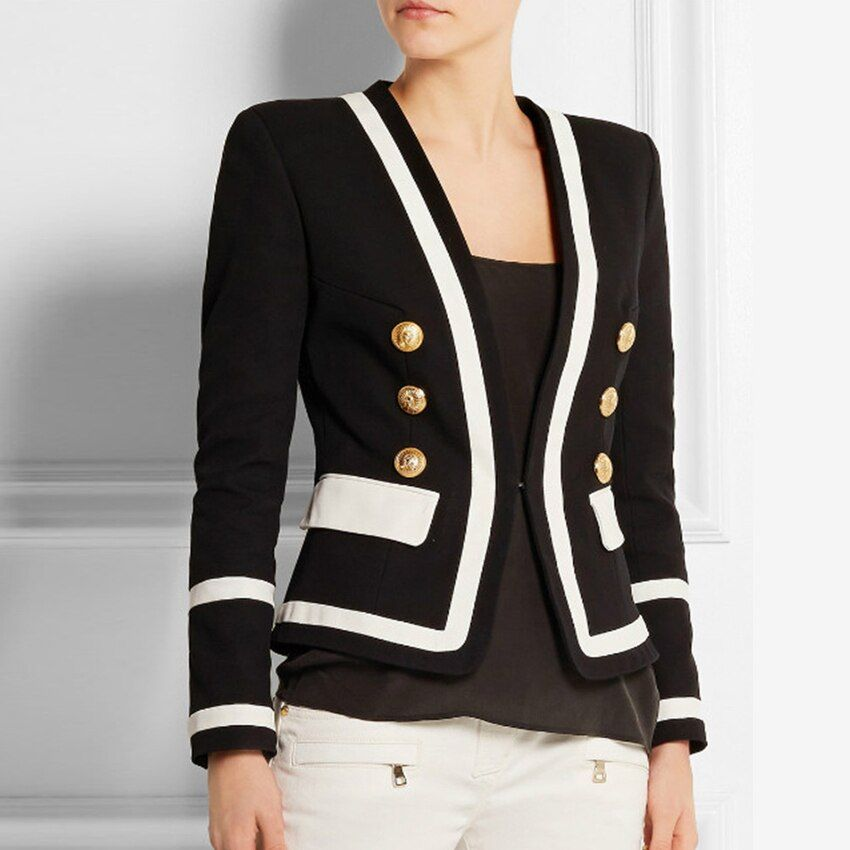 HIGH STREET New Fashion 2018 Designer Blazer Women's Classic Black White Color Block Metal Buttons Blazer Jacket Outer Wear