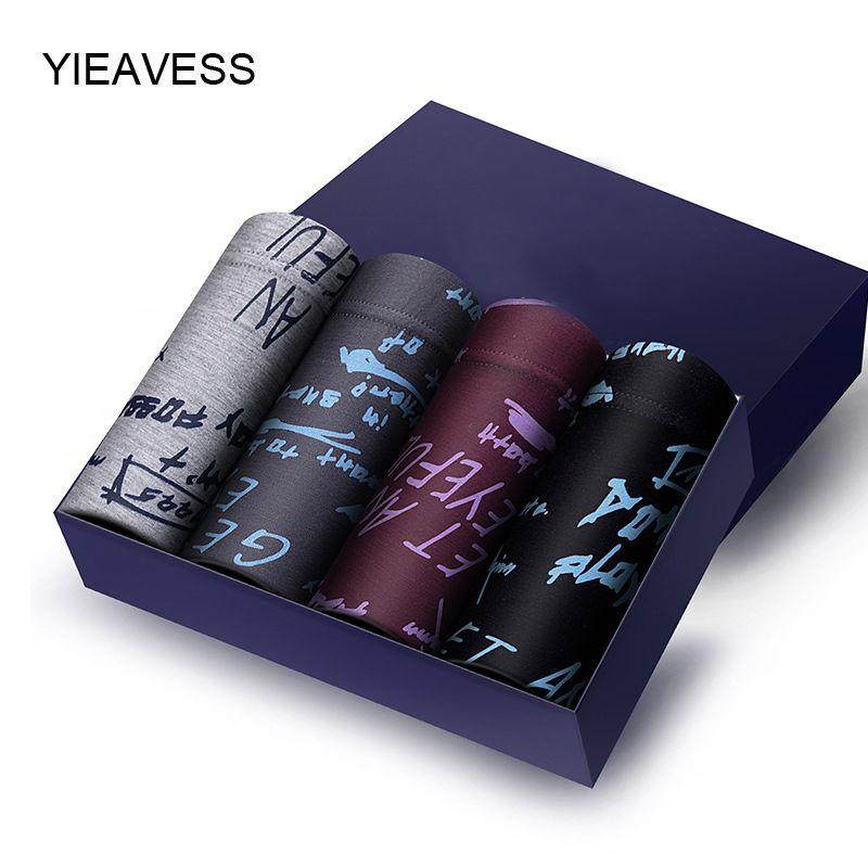 YIEAVESS 4 Pants/box Men's Underwear Middle Modal Cotton Pants Four Corners Underwear Breathable Belt Shorts L-3XL MP1109