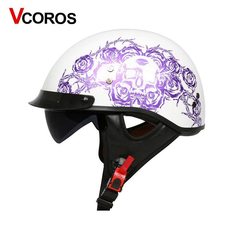VCOROS Fiber glass Harley Style Motorcycle Helmet Half Face motorbike Helmet with inner sun lens vespa moto helmets DOT approved