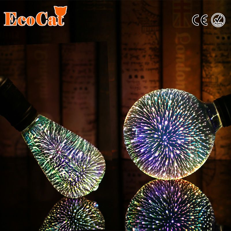 Silver Plated Glass 3D Star LED Edison Bulb 220v A60 ST64 G80 G95 Holiday Christmas Decoration Bar LED Lamp Lamparas Bombillas