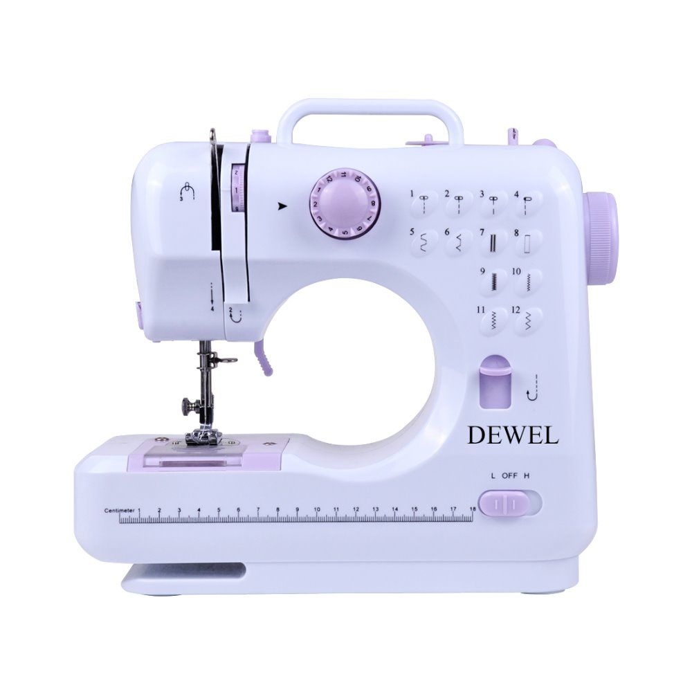 DEWEL Mini 12 Stitches Sewing Machine Household Multifunction Double Thread And Speed Free-Arm Crafting Mending Machine