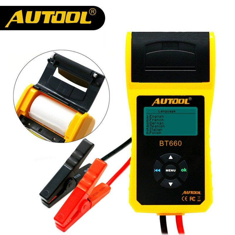 Original AUTOOL BT660 Battery System Tester Built-in Thermal Printer Multi-Language Automobile Battery Tester