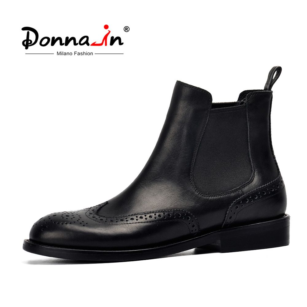 Donna-in Women Genuine Leather Boots Brogue Carved Ankle Boots Fashion Chelsea Low Heels Ladies Booties Spring 2018 Ladies Shoes