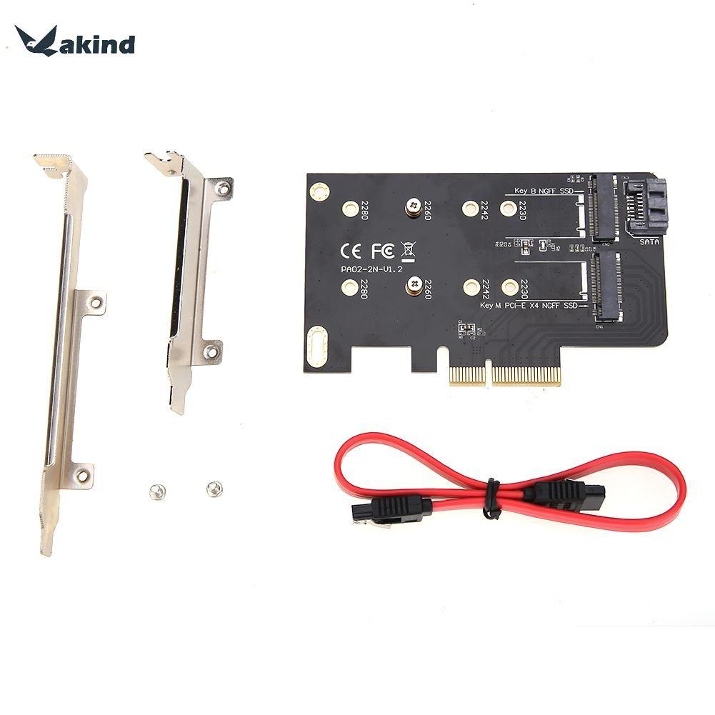 2 Slots Adapter Karte von M-taste m2 NGFF SSD zu PCI-E X4 Adapter und B taste M2 NGFF SSD zu SATA Adapter Karten + 7pin SATA Kabel