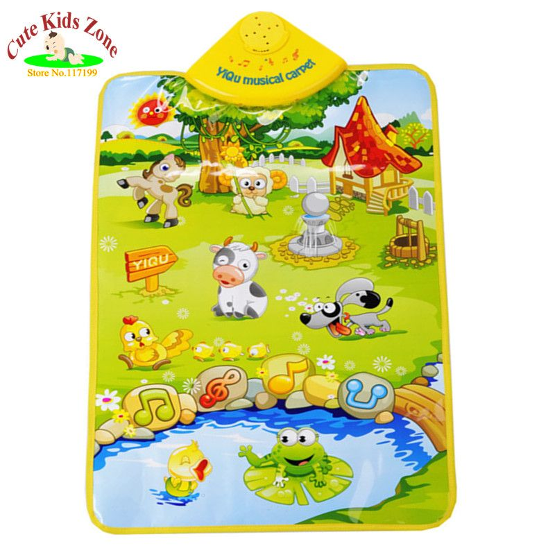 Precio de La Promoción 60*40 CM de Regalo de navidad Lindo Musical Baby Play Mat Alfombra Musical Granja Bebé Estera de Arrastre Del Desarrollo MM001