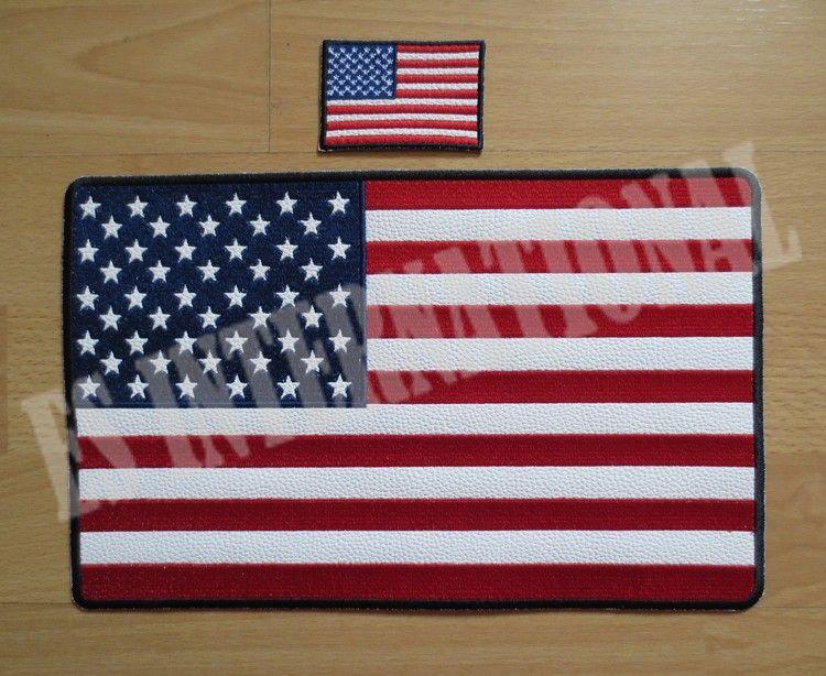 11.6 pouces amérique drapeau patchs de broderie pour veste arrière gilet moto motard 29.6 cm * 18.5 cm
