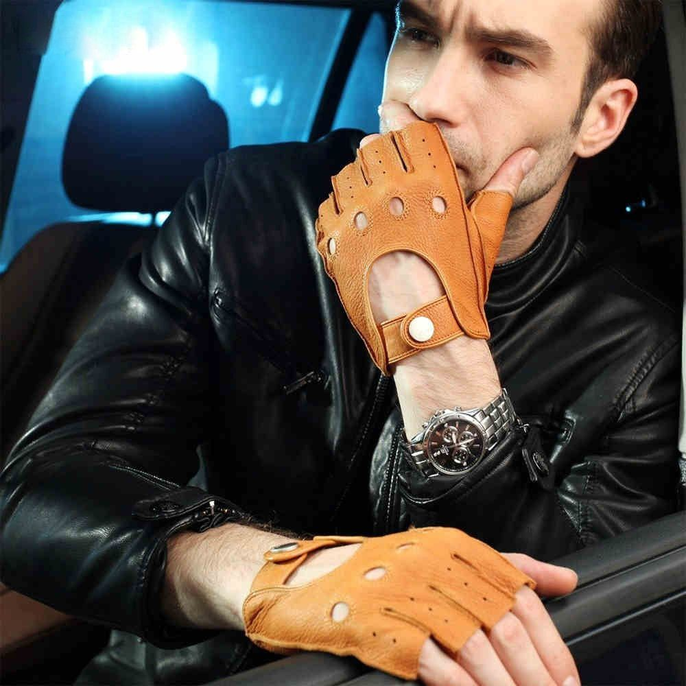 Fashion 2018 Men Deerskin Gloves Wrist Half Finger Driving Glove Solid Adult Fingerless Mittens Real Genuine Leather EM001W
