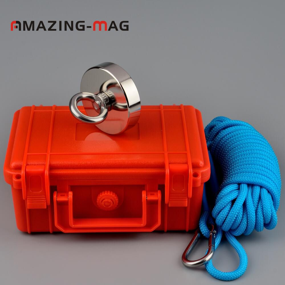 200KG Neodymium Salvage Fishing Magnet With Rope in Safety Box Recovery Retrieving Metal Treasure Hunter Magnetic Holding