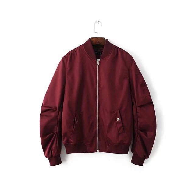 2018 Spring Autumn Mens Solid Flight Wine Red Bomber Jacket Men's Rib Sleeve Zipper Short Air Force Baseball Coats Clothing