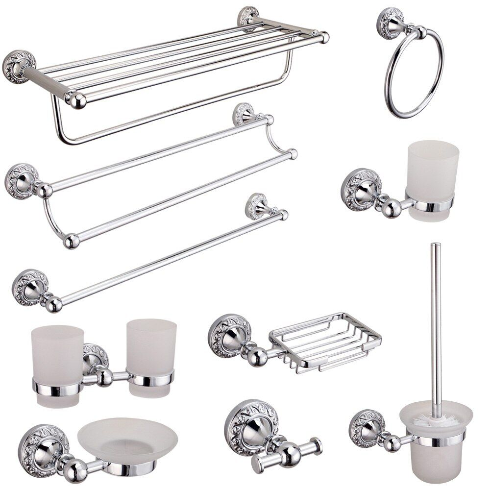 AUSWIND carved double towel bar 30/40/50/60cm silver toilet paper holder mirror plated surface finishing bathroom hardware sets