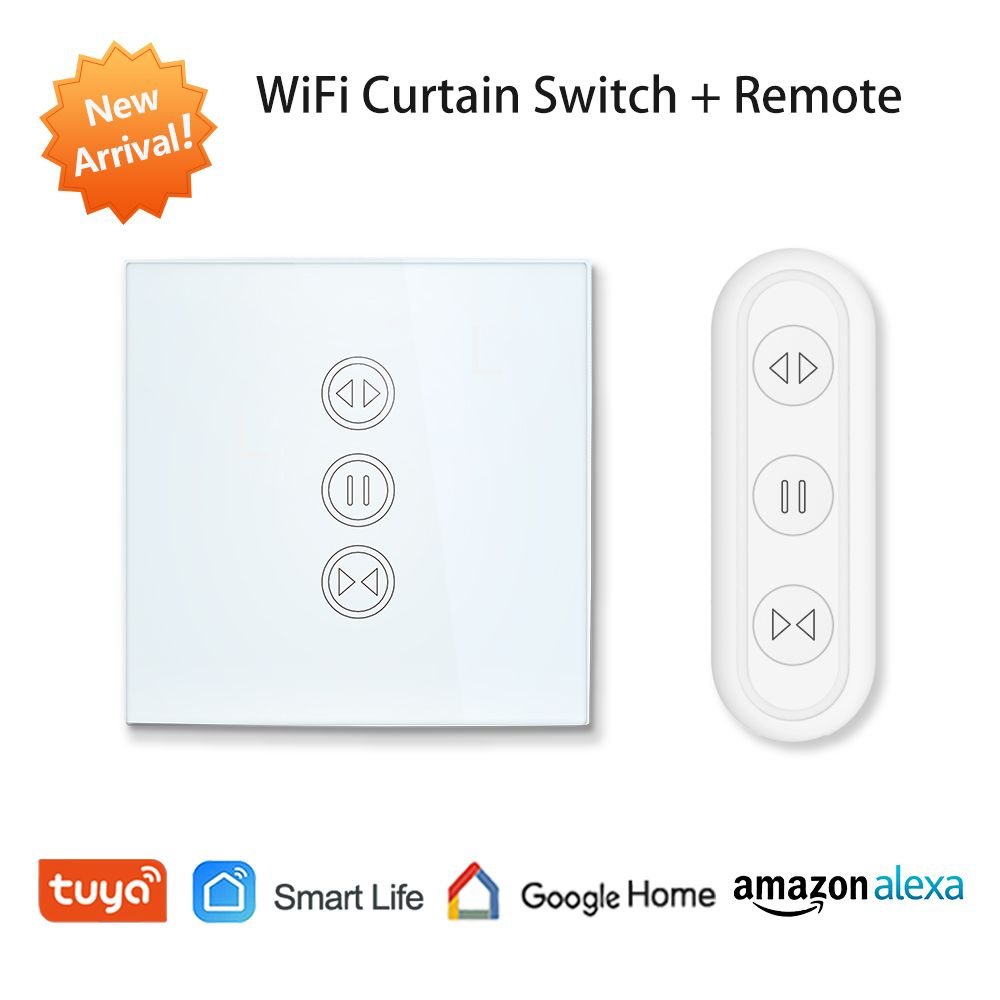 Tuya Smart Life EU WiFi interrupteur de rideau de volet roulant pour stores motorisés électriques avec télécommande commutateur sans fil Google Home Alexa Echo commande vocale mur tactile commutateur Smart Home