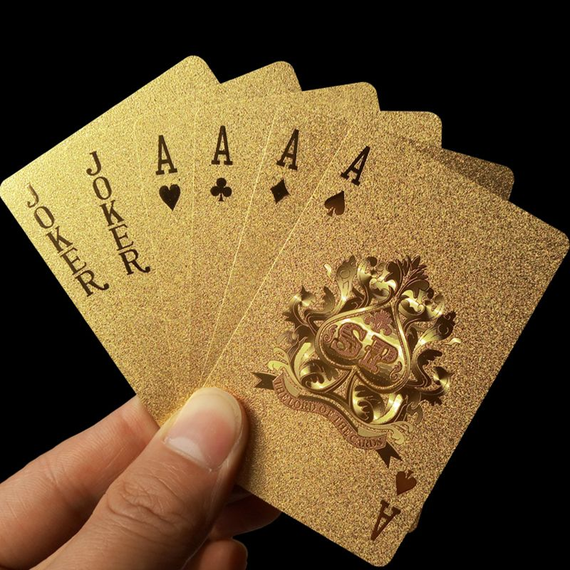 D'or jeu de cartes à jouer feuille d'or set de poker Magie carte 24 K Or En Plastique feuille poker Durable Étanche Cartes magie 81150