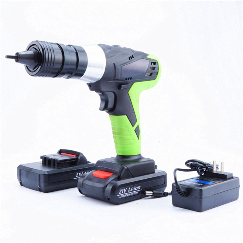 21v portable cordless electric rivet gun rechargeable riveter battery riveting tool pull rivet nut tool 2 battery M6/M8 head