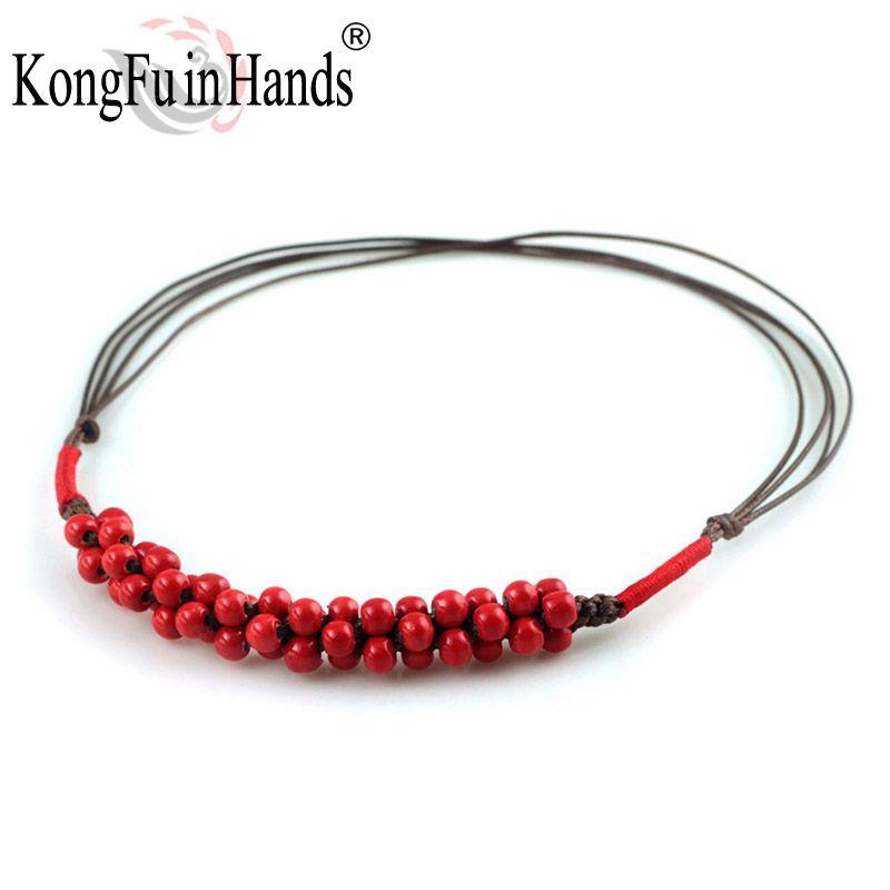Clásico de cerámica ormosia colgante collar rojo accesorios de época de regalo de San Valentín envío gratis artesanía hecha a mano