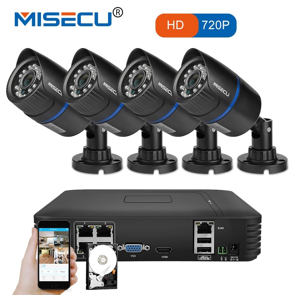 MISECU 4CH POE 1080P NVR 4pc 1.0mp 15V PoE IP Camera P2P HDMI 1080P CCTV System Surveillance IR Night vision out/indoor PC&Phone