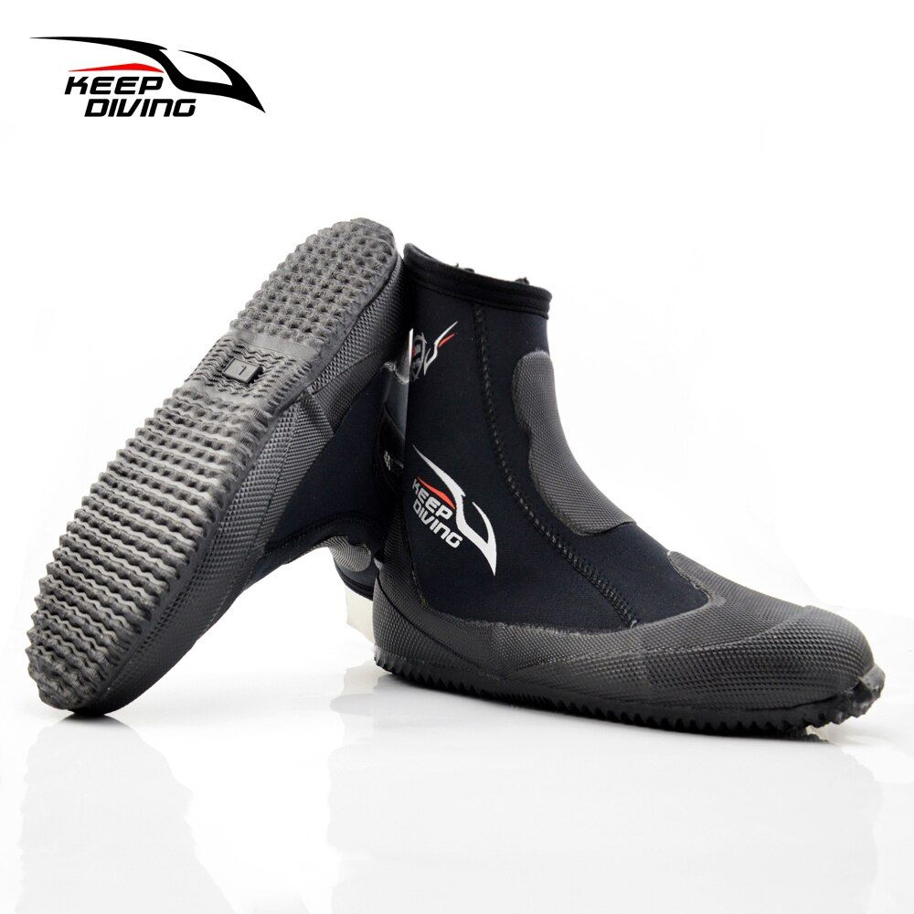 KEEP DIVING 5MM Neoprene Scuba Diving Boots Water Shoes Vulcanization Winter Cold Proof High Upper Warm Fins Spearfishing Shoes