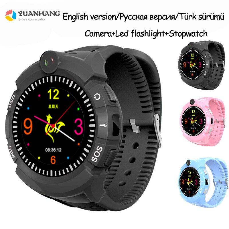 Smart GPS LBS Tracker Locator SOS Call Remote Camera Monitor Anti-Lost Kids Student Phone Touch Round Screen Watch WristWatch