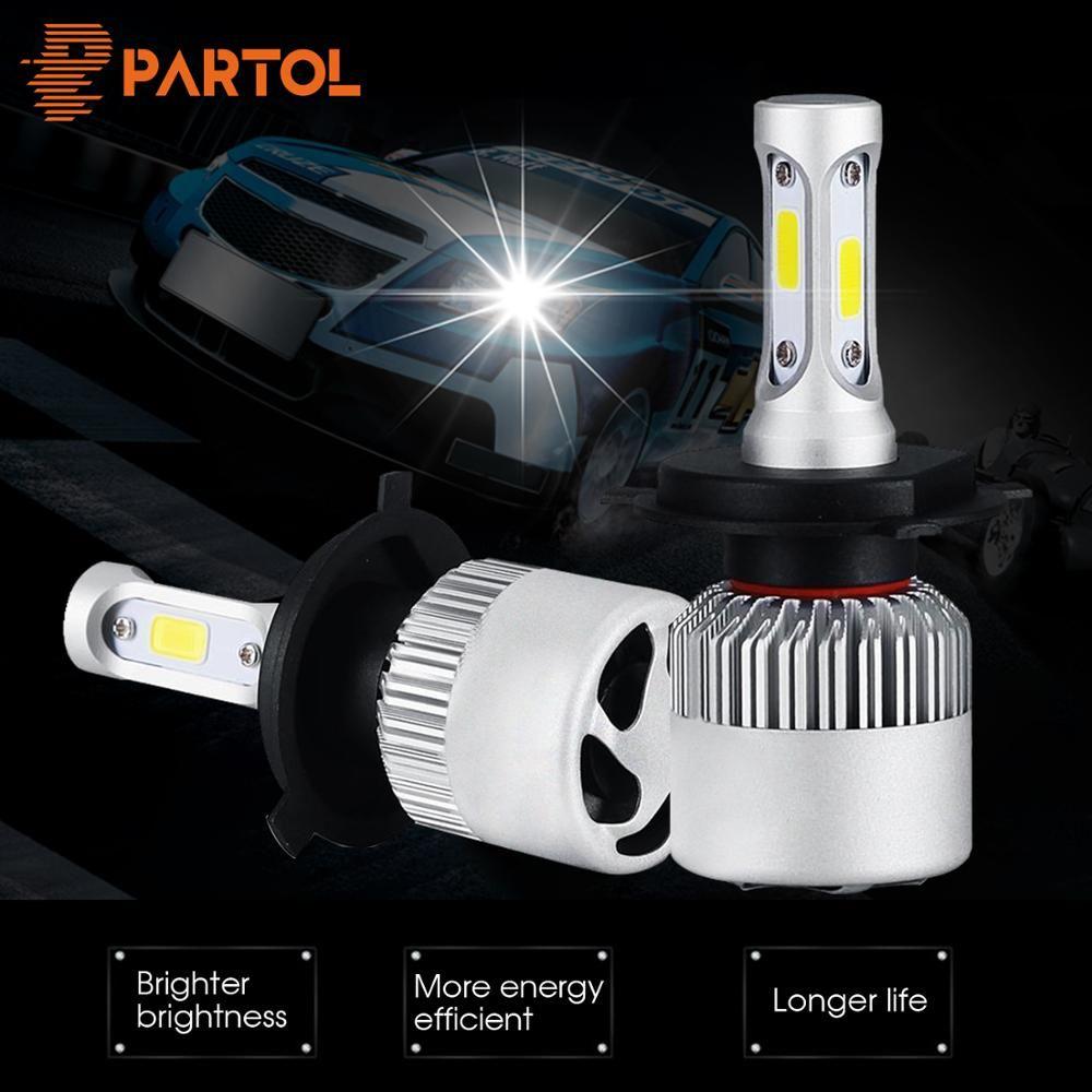 Partol H1 H3 H4 H7 H11 LED voiture phares ampoules COB puces Auto phare Hi-Lo faisceau 72 W 8000LM 6000 K 12 V 24 V pour camion tout-terrain 4x4
